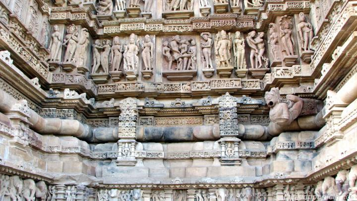 Panels of Idols at the outerwalls of Lakshmana Temple Khajuraho