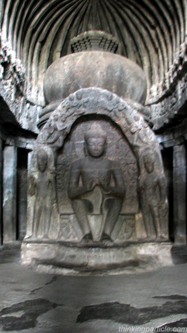 Stupa and Lord Buddha in Cave 10 Ellora Caves