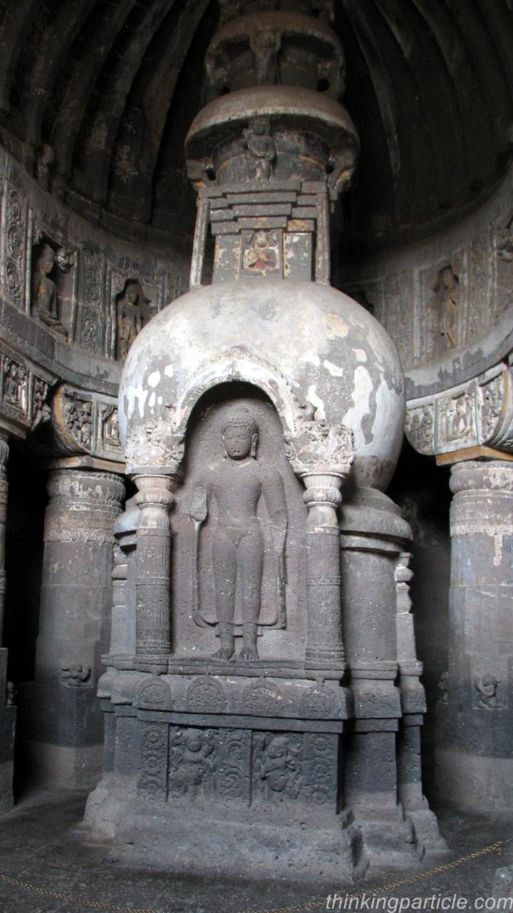 Stupa carved with lord Buddha image in Cave 19